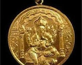Ganesh Ganesha Solid pendant charm 24kt Gold Plated over real sterling silver jewelry OM deities Hindu god Elephant head