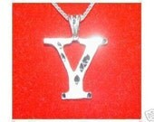 silver pendant charm initial letter y diamond jewelry Real Sterling silver 925 pendant Charm jewelry