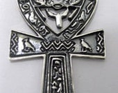 huge ankh egyptian egypt silver pendant scarab beetle Real Genuine Sterling silver 925 pendant Charm jewelry
