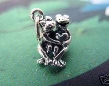 Horny Toads Frog Lovers heart I love you sterling Silver 925 Pendant charm Jewelry Wholesale Hand Casted crafted