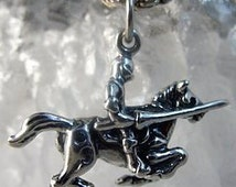 2441 medieval times knight jousting horse silver charm Real Sterling silver 925 pendant Charm jewelry