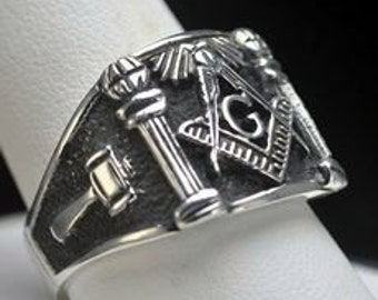 Genuine Authentic Sterling Silver 925 free mason MASONIC RING Freemasonry Jewelry Hand Casted crafted freemason Pick your size