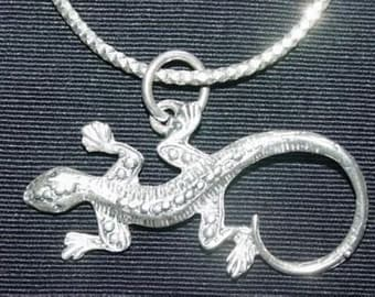 SS 0135 Real Sterling Silver Lizard Pendant Charm Gecko Jewelry