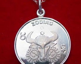 SS 0142 Bull Taurus Zodiac Pendant Charm 2 SIDED Jewelry Real Sterling silver