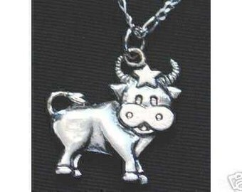 0371 bull taurus zodiac 3d pendant charm silver star Real Sterling silver 925 pendant Charm jewelry