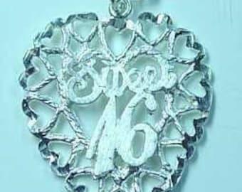 0609 sterling silver sweet 16 pendant charm birthday Real Sterling silver 925 pendant Charm jewelry