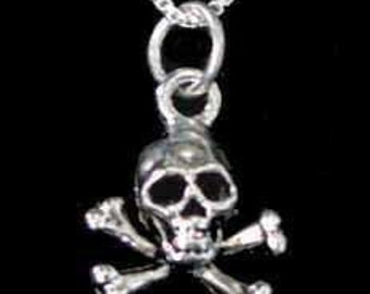 skeleton skull and cross bone pendant charm silver Real Sterling silver 925 pendant Charm jewelry