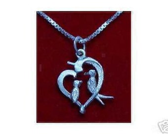 sterling silver i love you birds pendant charm jewelry Real Sterling silver 925 pendant Charm jewelry