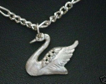 swan bird sterling silver charm pendant jewelry .925 Real Sterling silver 925 pendant Charm jewelry