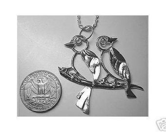 love birds pendant charm sterling silver .925 jewelry Real Sterling silver 925 pendant Charm jewelry