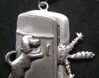 1557 cat dog fight fridge pendant charm silver jewelry Real Sterling silver 925 pendant Charm jewelry