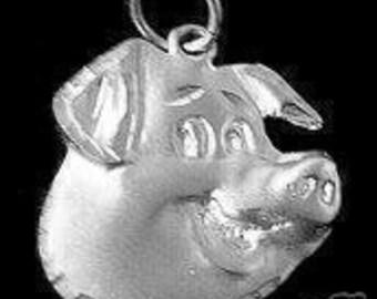 cartoon pig sterling silver 925 pendant charm jewelry Real Sterling silver 925 pendant Charm jewelry