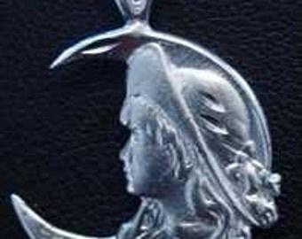 celtic moon goddess maiden pendant charm silver jewelry Real Sterling silver 925 pendant Charm jewelry