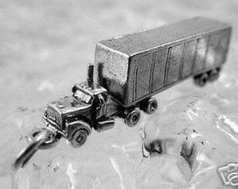 tractor trailer 3d truck sterling silver charm pendant Real Sterling silver 925 pendant Charm jewelry