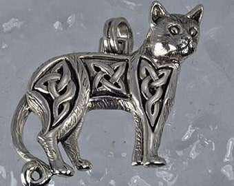sterling silver celtic infinity knot cat pendant charm Real Sterling silver 925 pendant Charm jewelry