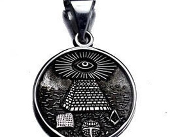 free mason masonic sterling silver all seeing eye charm Real Sterling silver 925 pendant Charm jewelry