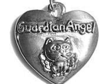 sterling silver 925 guardian angel cat protect charm Real Sterling silver 925 pendant Charm jewelry