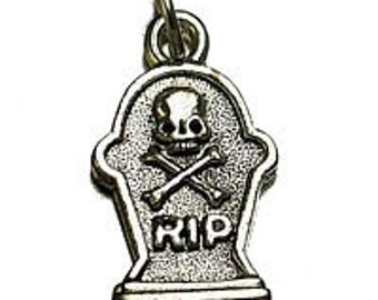 new halloween skull crossbone skeleton real sterling silver rip charm tombstone Real Sterling silver 925 pendant Charm jewelry