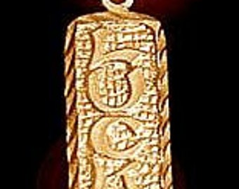 0137GP Lucky Sterling Silver Pendant Charm Good Luck 24kt gold plated over Real sterling silver .925