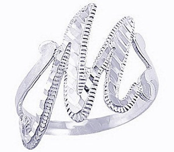 New Elegant Sterling silver 925 Alphabet letter Initial M ring jewelry Wholesale Hand Casted crafted