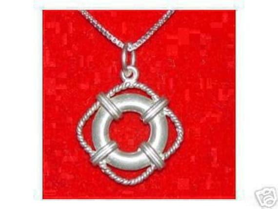 Swimming Pool Jewelry : Silver life saver guard swim pool pendant by