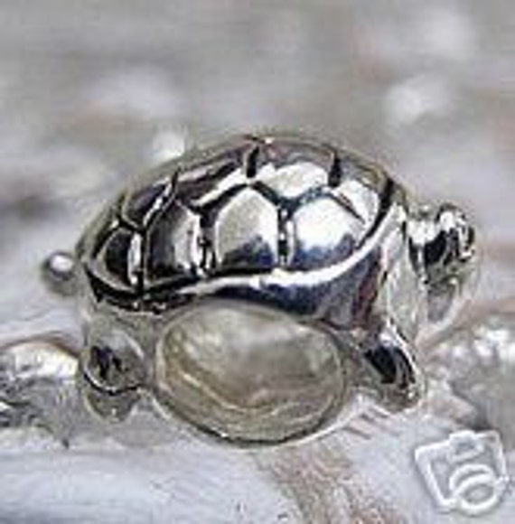 Turtle shell charm bead for jewelry sterling by for Real tortoise shell jewelry