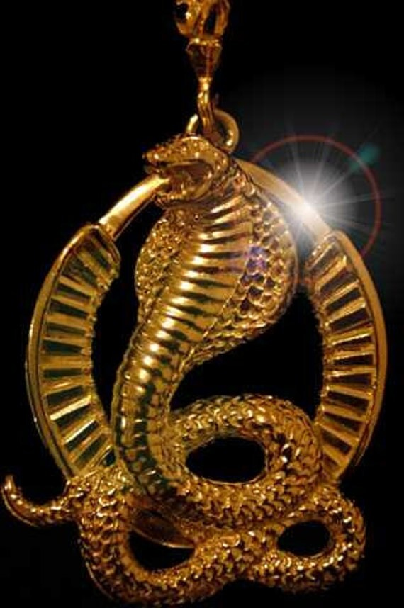 0049gp Big Gold Plated Egypt Cobra Snake By Princeofdiamonds