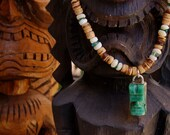 Handmade Recycled Hawaiian Onyx Tiki Sterling Pendant with Coconut Vintage Puka and Apetite Necklace