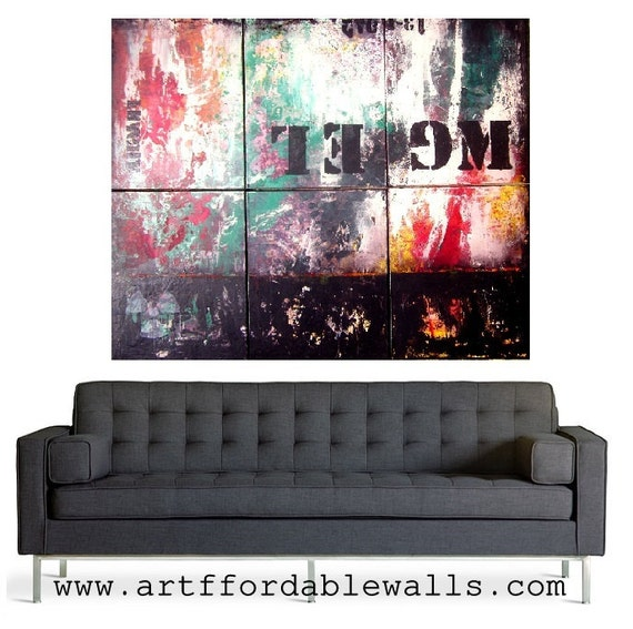 """HUGE Original Abstract Painting- 57X49"""" by Laura Gomez- Acrylic/ Modernist /Contemporary /Industrial /Retro /Vintage Style"""