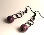 Tahiti Love Song & Gunmetal // violetta amaranthine plum purple and gunmetal earrings