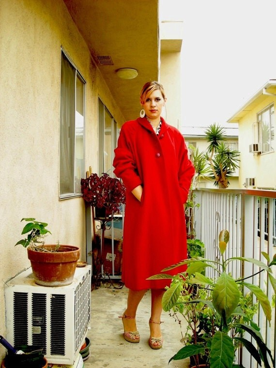 Bright and Colorful Vintage 1980's Wool Coat