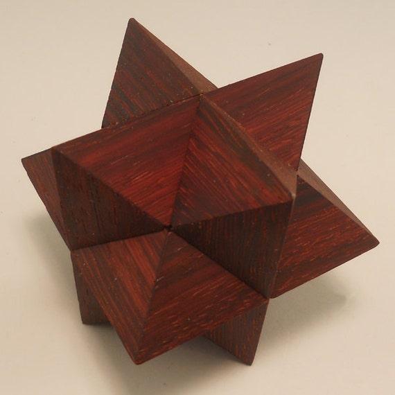 Diagonal Star in Padouk interlocking geometric puzzle