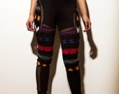 Aztec Sweater Cut Out Mesh Pants - Black Medium