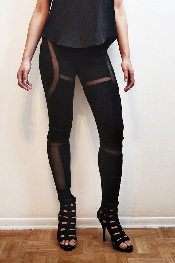 Black Sweater Cut Out Pants Leggings - Medium