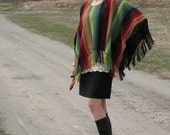 Red, green, blue and grey hand made poncho
