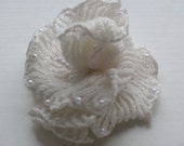 Romantic rose Handmade knitted Dark Brown Flower Brooch (snow white) with Pearl