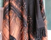 Poncho black, orange, brown, beige, gray hand made - woven cloth