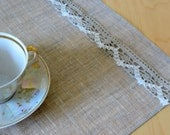 "Linen Napkin Natural White Gray set of 2 - Flax with lace 17.5""x12.5"" size"