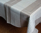 "Linen Tablecloth Natural White Gray in Stripes 76,8"" x 57,5"""