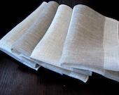"""Linen Napkin Natural White Gray set of 4 - Flax 17.7""""x11.4"""" size"""