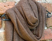 Linen Scarf Brown Organic Linen Women's Scarf Pure Linen Spring Clothing SALE