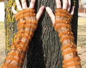 Wedding Gloves Fingerless Lace Mittens Brown Beige Arm Warmers Soft Linen, Acrylic