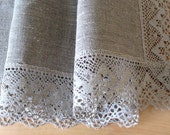 "Linen Tablecloth Burlap Checked Square Prewashed Natural Gray Linen Lace 42"" x 42"""