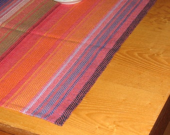 """Linen Table Runner Tablecloth Multicolored blue red green yellow orange  rainbow  38.2"""" x 17.7"""""""