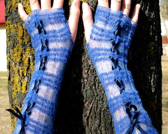 Wedding Gloves Fingerless Mittens Blue Lace Long Arm Warmers, Linen, Acrylic, Wool