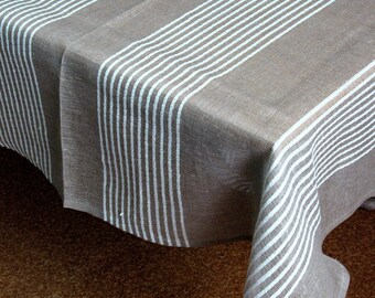 "Linen Tablecloth Square Natural White Gray in Stripes 56"" x 39"""