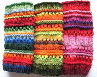 Boot Cuff Boot Toppers Leg Warmers Boot Socks Cable Striped Blue Red Green Orange Multicolored Handknitted