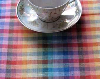 """Linen Tablecloth Checked Rainbow Blue Red Green Yellow  92.5""""  x 56.3"""""""