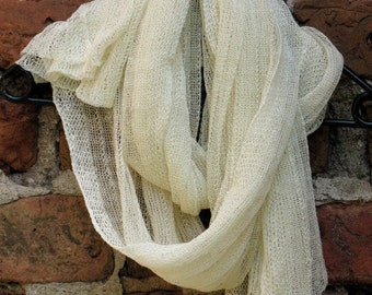 Linen Scarf Shawl Wrap Stole milk white Light Transparent SALE