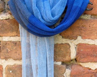 Linen Scarf Shawl Wrap Stole azure cornflower blue Multicolored